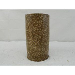 Stone look cylinder vase floral container brown